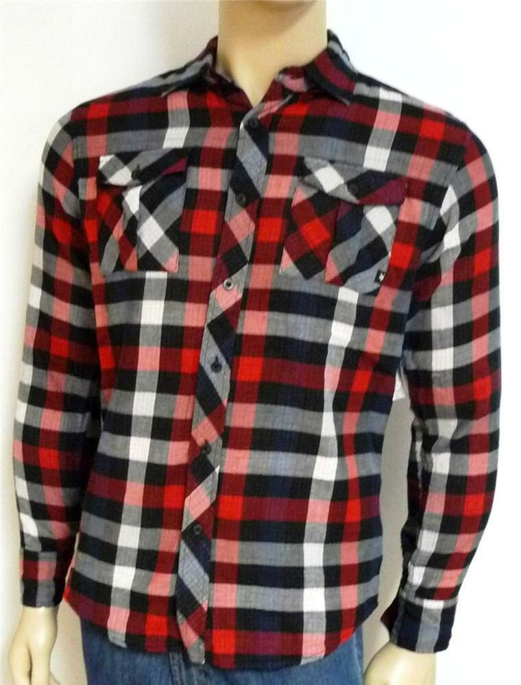 Zoo york excelsior mens red black plaid woven button up for Mixed plaid shirt mens