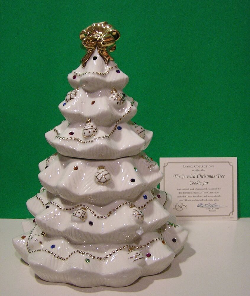 LENOX THE JEWELED CHRISTMAS TREE COOKIE JAR New in Box with COA | eBay