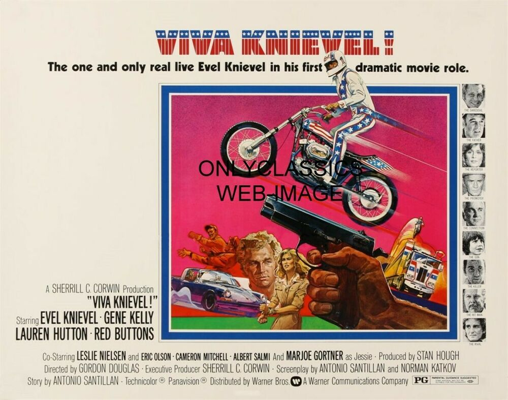 1977 Viva Knievel Doing Daredevil Stunt Evel Harley: 1977 VIVA KNIEVEL MOTORCYCLE MOVIE POSTER DAREDEVIL EVEL