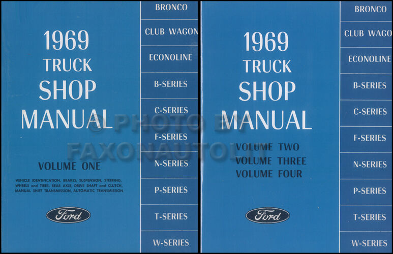 1969 Ford F 250 Wiring Diagram : Ford truck shop manual set new f