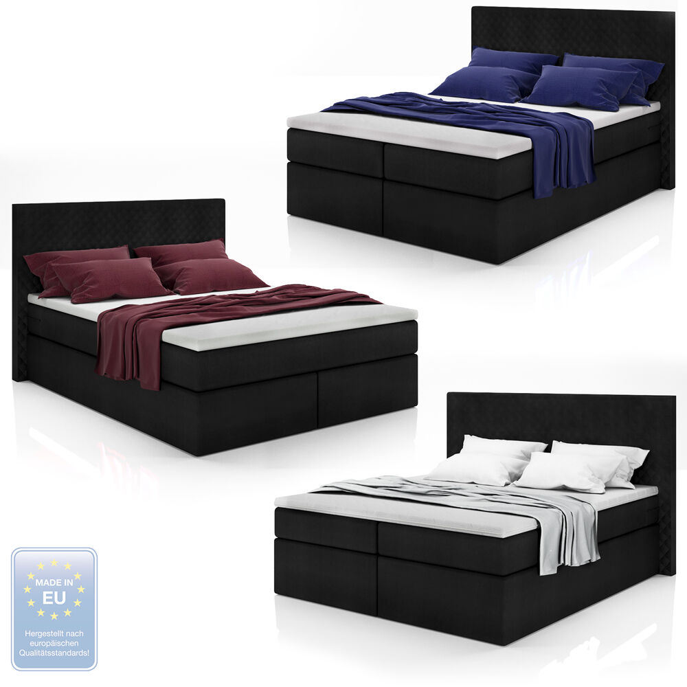 boxspringbett schwarz design doppelbett polsterbett bett. Black Bedroom Furniture Sets. Home Design Ideas