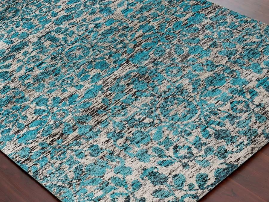 Modern Hand Knotted Aqua Saree Silk Wool Rectangle Area