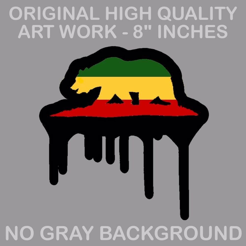 Details about big cali california republic bear rasta drip vinyl decal sticker 420 xd