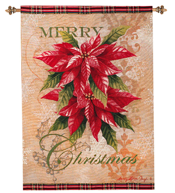 Merry christmas poinsettia tapestry wall hanging ebay