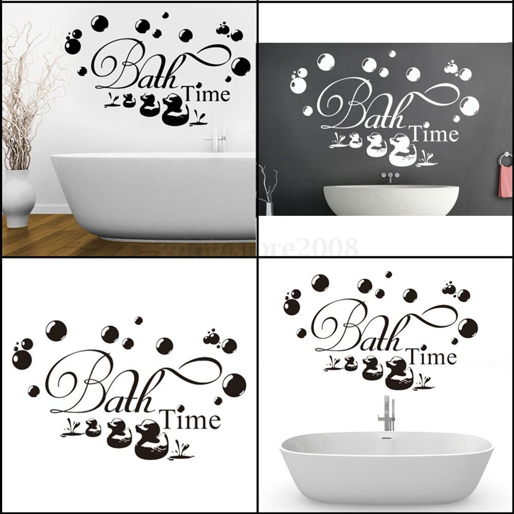 Bath time ducks bubbles wall stickers decal removable for Bathroom decor stickers