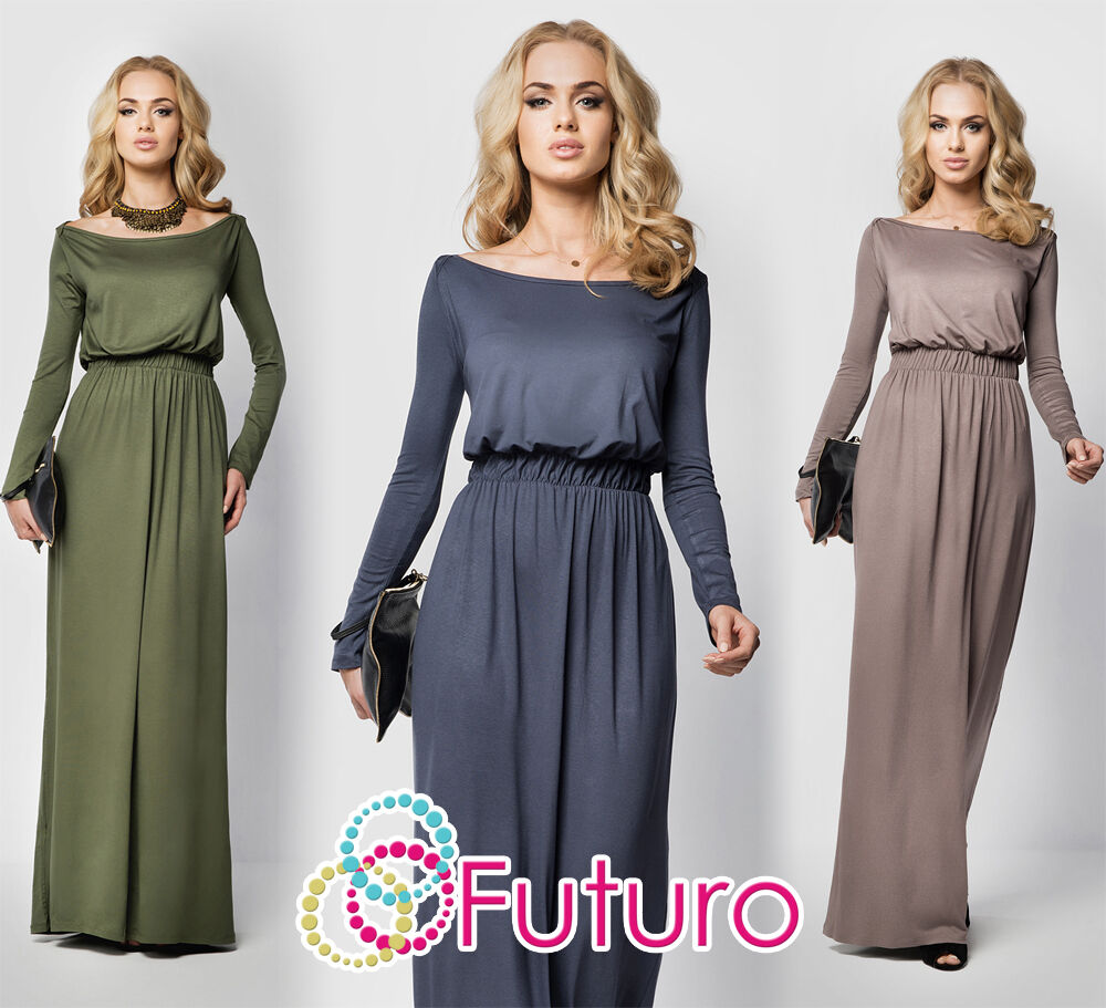 Maxi Ancient Greek Style Dress With Deep Neckline And: Womens Maxi Dress Full Length Boat Neck Long Sleeve