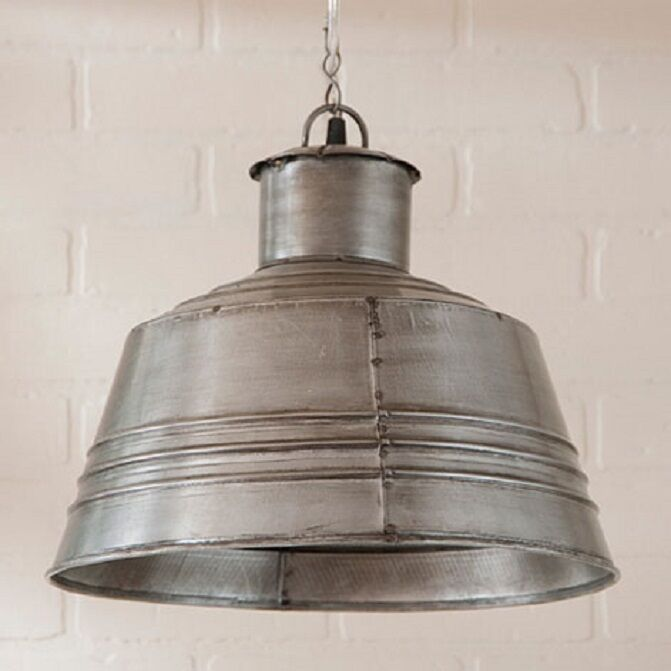 large canning table pendant light in antique polished tin
