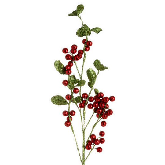 "Christmas Berry Tree Hawaii: RAZ Imports~Lrg 36"" Glittered Berry Christmas~Floral/Pick"