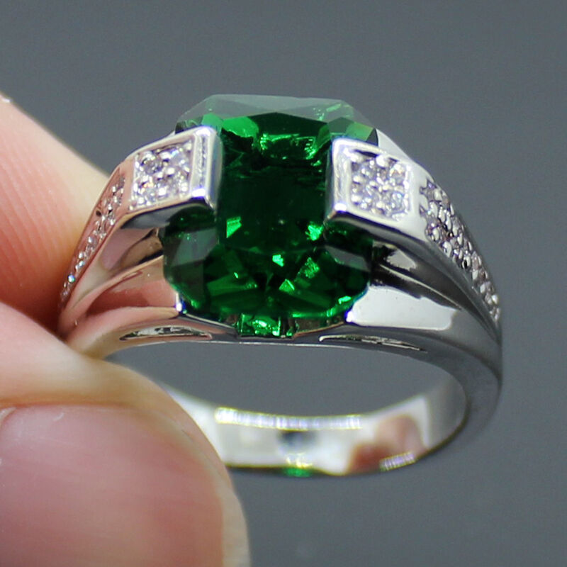 sz 8 12 mens jewelry stainless steel square emerald band
