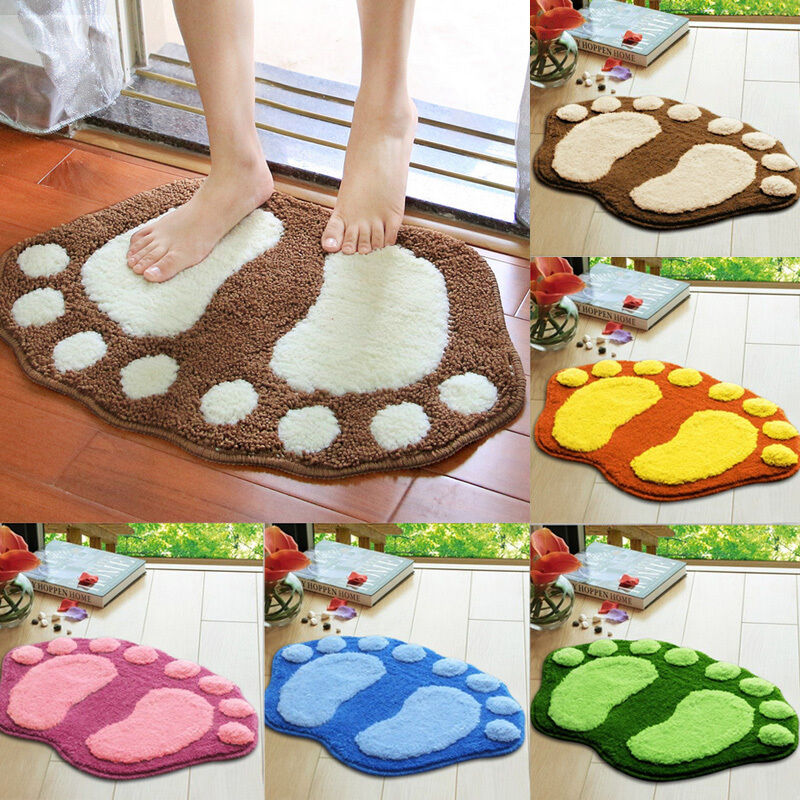 New Feet Shape Plush Rug Shaggy Non Slip Absorbent Soft