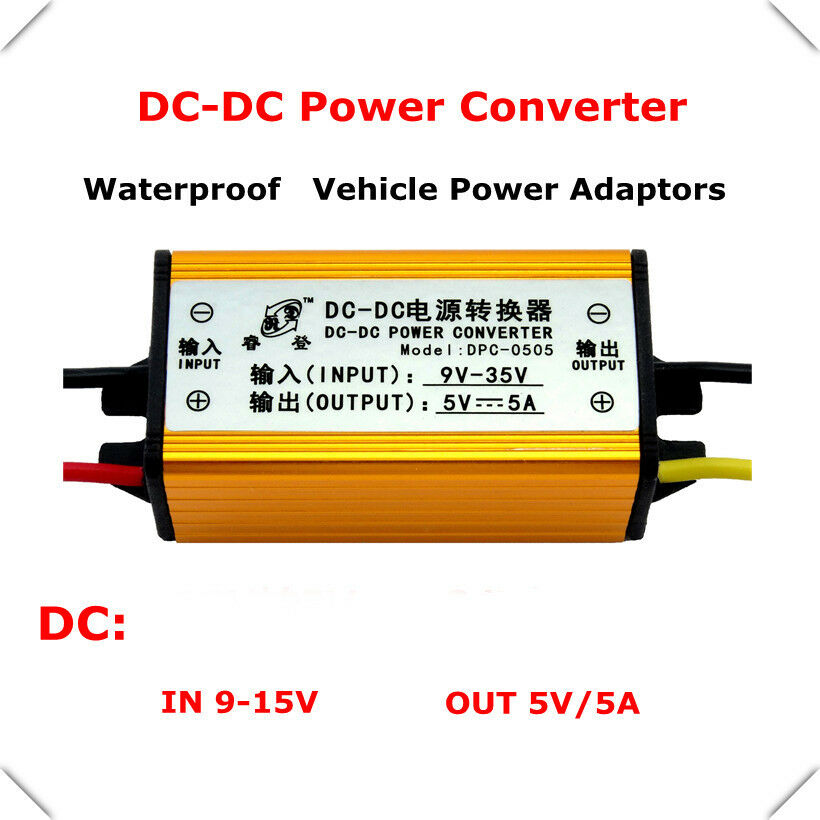 Waterproof 12v 24v to 5v 5a dc dc voltage converter buck for Waterproof dc motor 12v