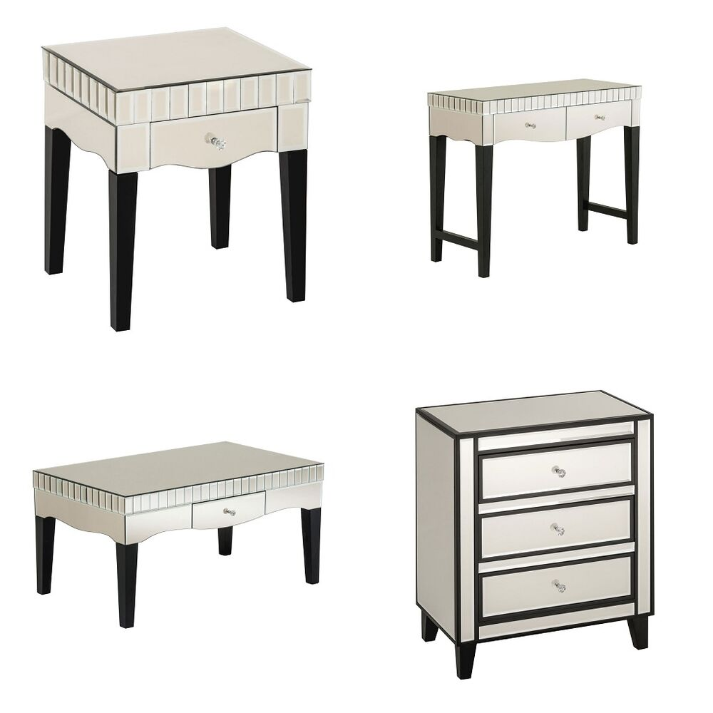 Venetian Lido 2 Drawer Mirrored Coffee Table: Boulevard Champagne Mirrored Finish Side Console Coffee