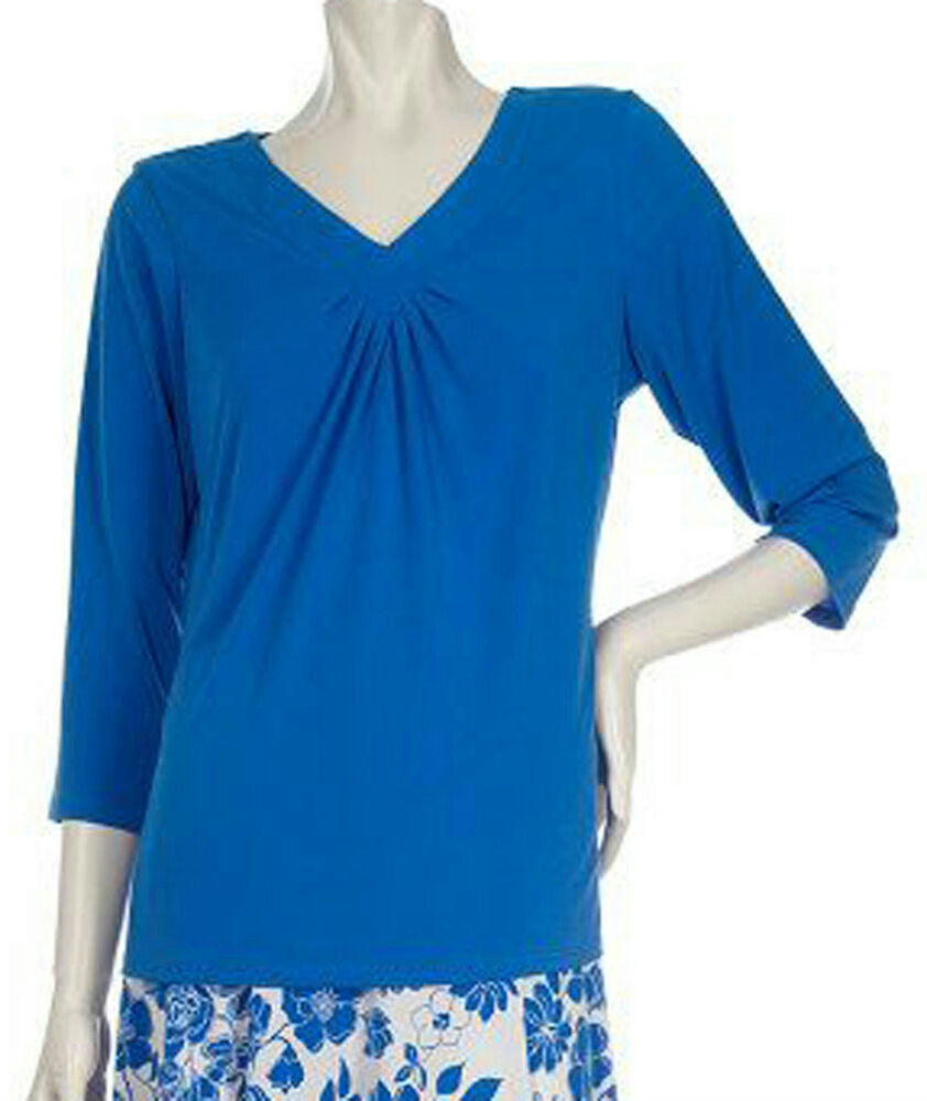 New susan graver liquid knit ruched v neck 3 4 sleeve for 3 4 sleeve shirt template