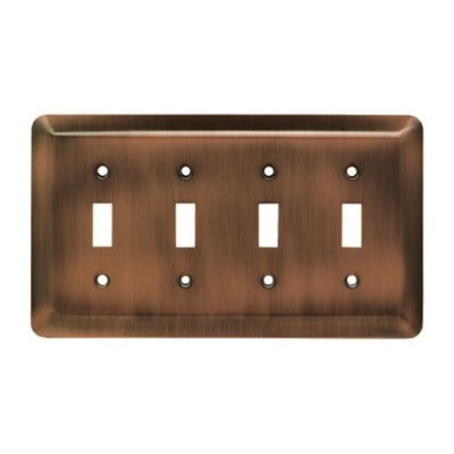 64101 Antique Copper Stamped Quad Switch Cover Plate Ebay