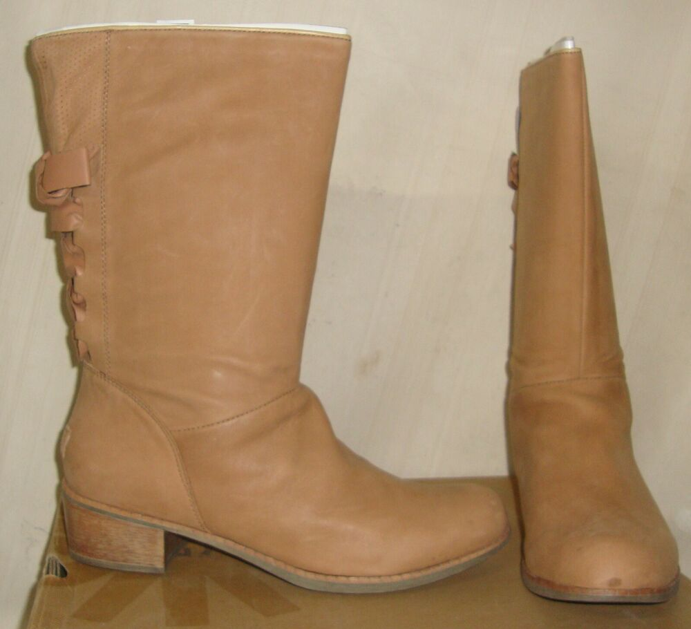 UGG Australia CARY Putty Leather Corset BOW at Back Boots ...