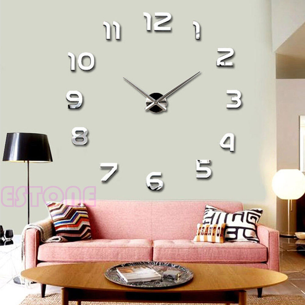 New Fashion Large Number Wall Clock Diy 3d Mirror Sticker