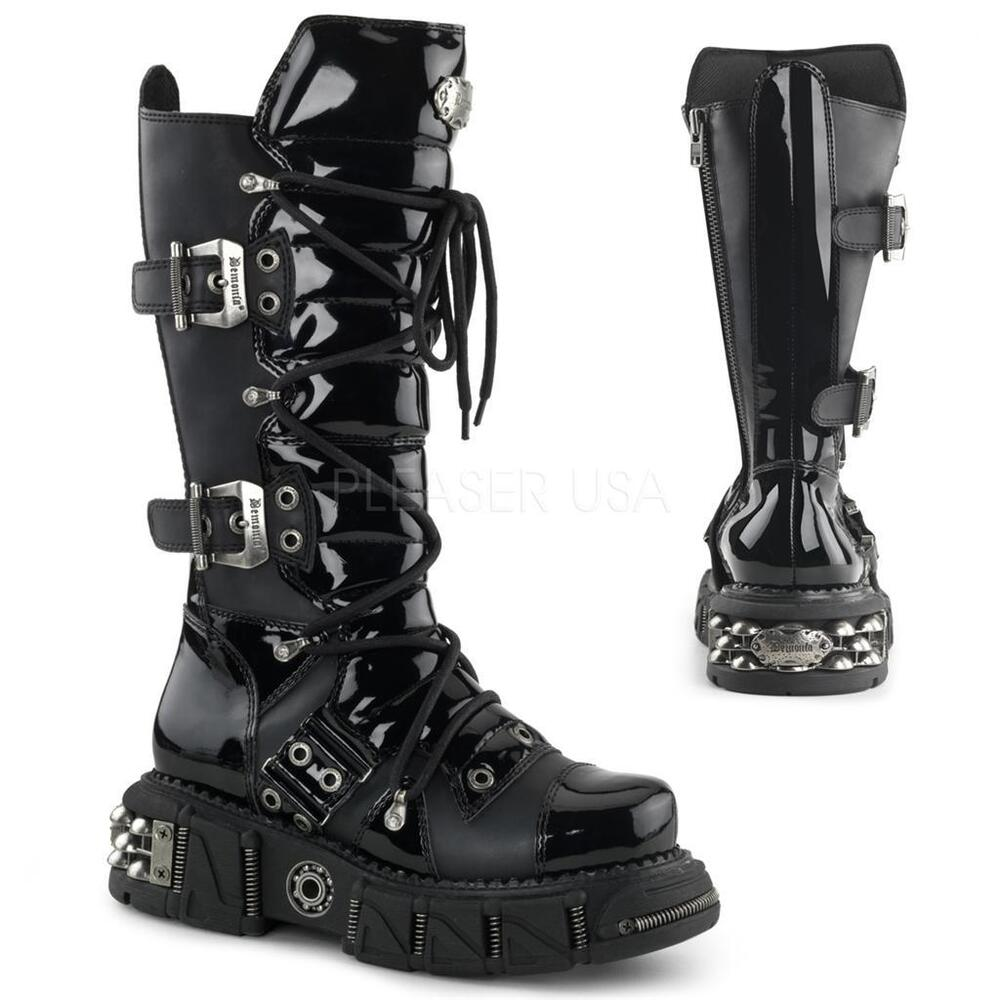 demonia dma 3006 cyber black platform knee