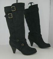 """Blacks charcoal  3"""" high heel round toe side buckles sexy mid-calf boot Size 8 p"""