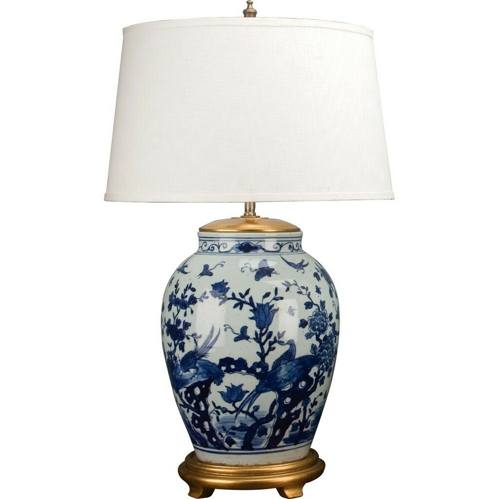 Chinese Classic Blue And White Porcelain Lamp With Flowers