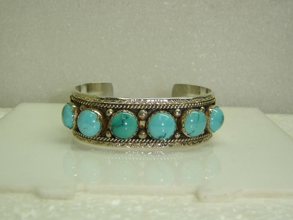 southwest cuff bracelet with turquoise in sterling silver. Black Bedroom Furniture Sets. Home Design Ideas