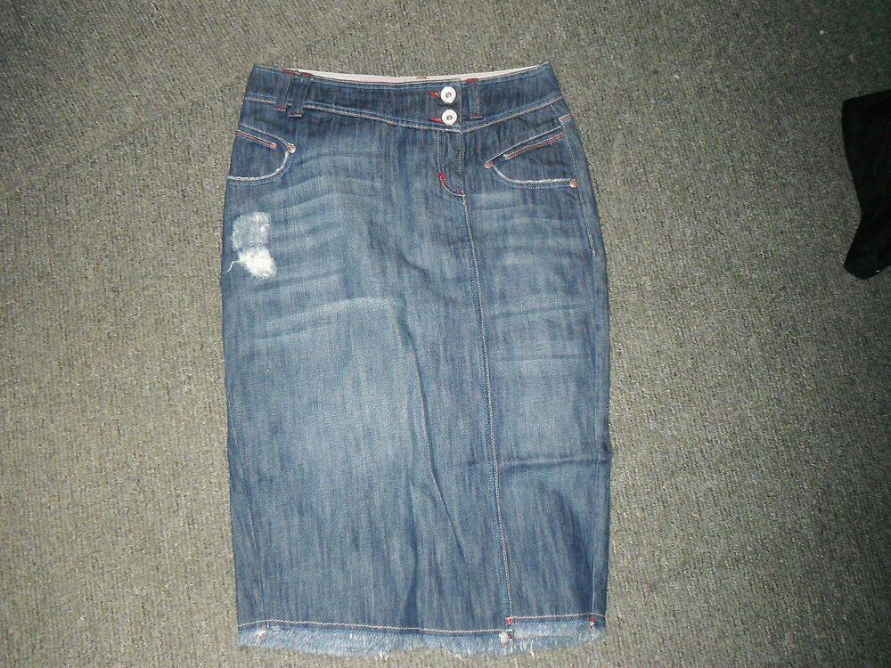 next denim skirt size 10 faded blue denim