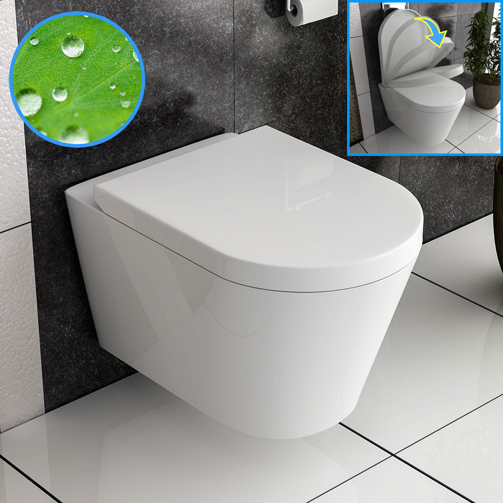 design wand h nge wc wc toilette mit soft close nano beschichtung ebay. Black Bedroom Furniture Sets. Home Design Ideas
