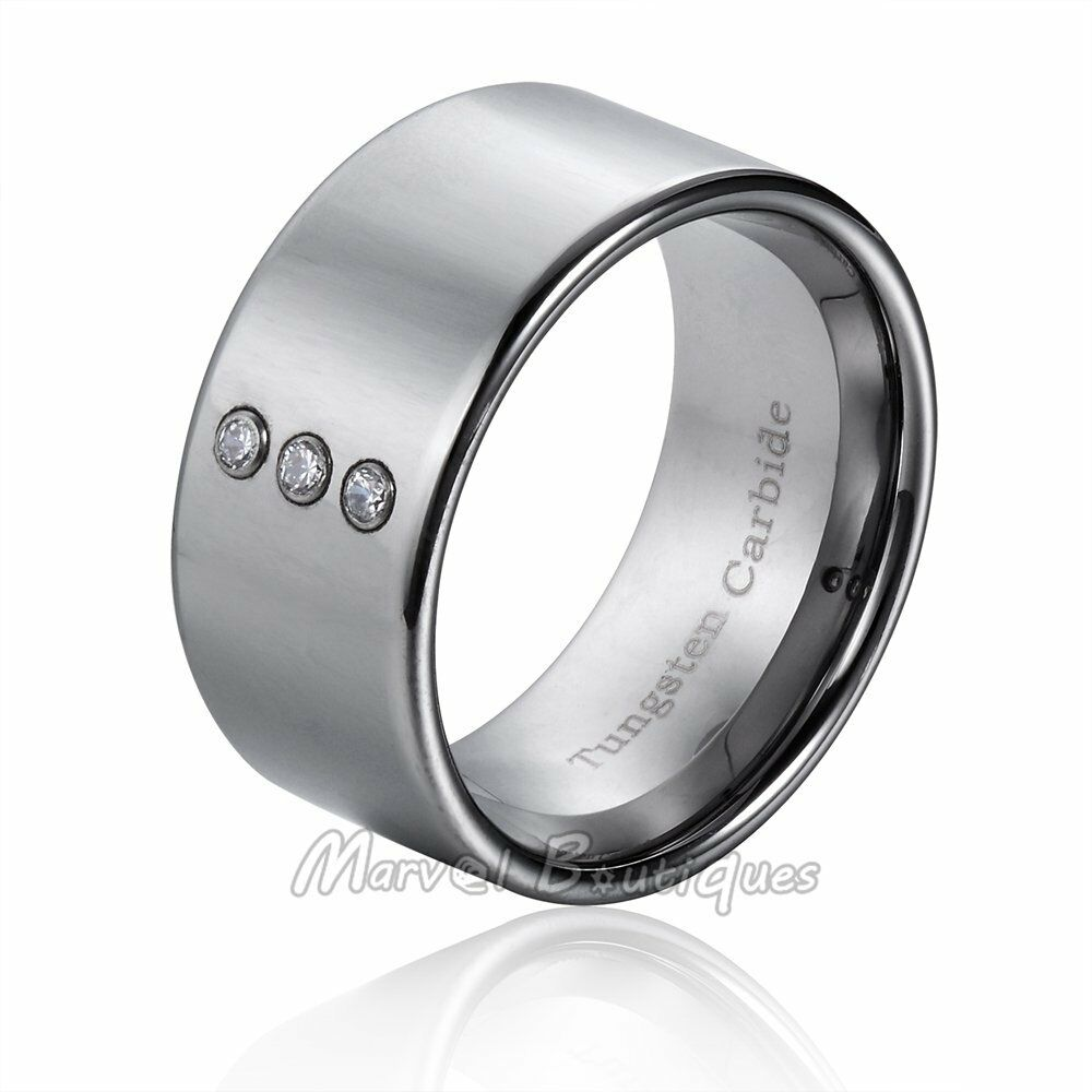 new 12mm tungsten carbide high polished flat cz