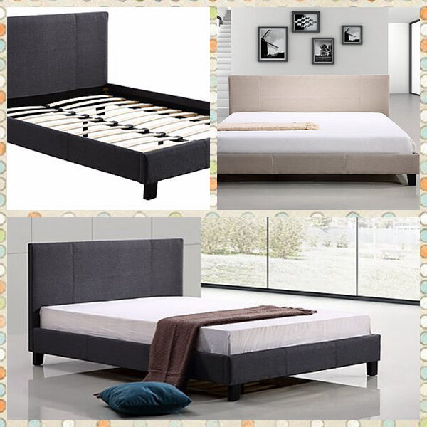 new single double queen king linen fabric upholstered bed frame bed head ebay. Black Bedroom Furniture Sets. Home Design Ideas