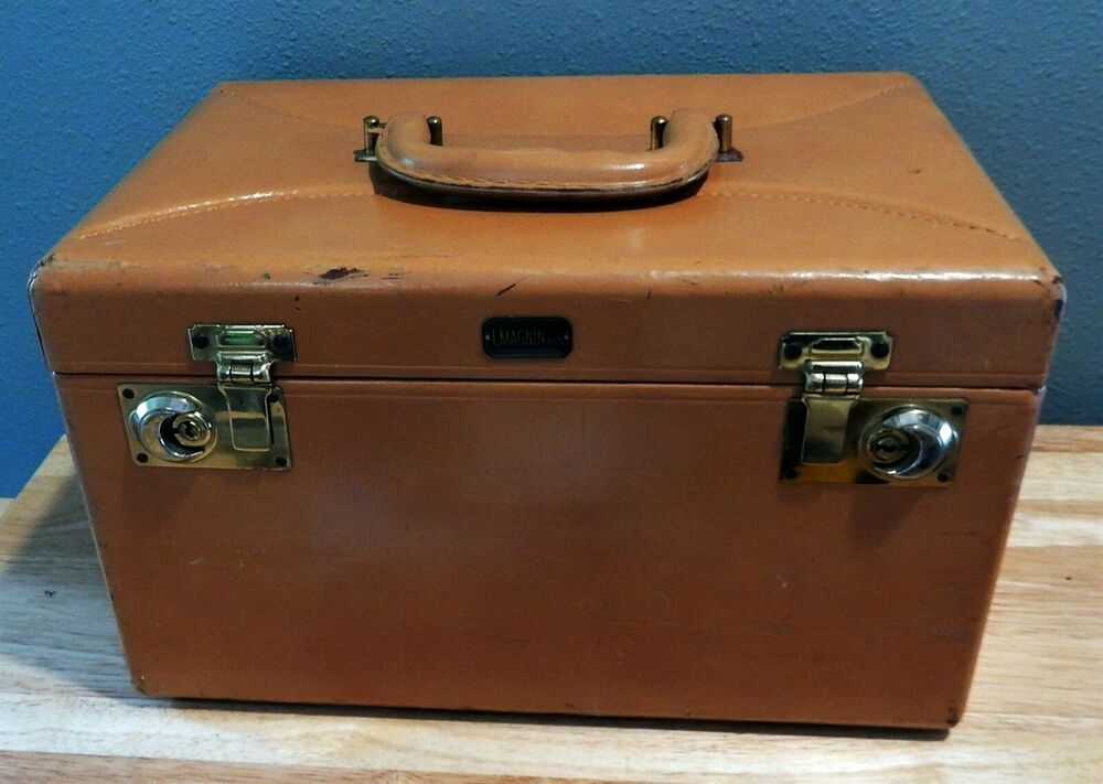 vintage i magnin leather train travel cosmetic vanity case ebay. Black Bedroom Furniture Sets. Home Design Ideas