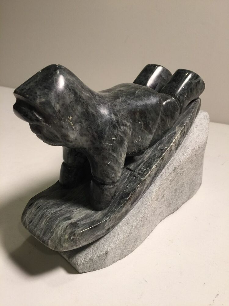 Vtg ross parkinson soapstone carving sculpture sledding