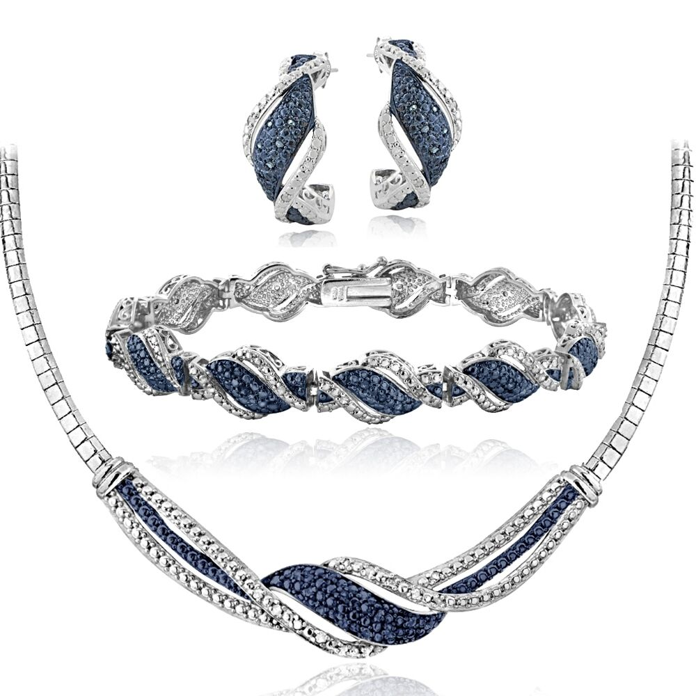 bracelet and earrings sets 3 4 ct blue white twist necklace bracelet 6396