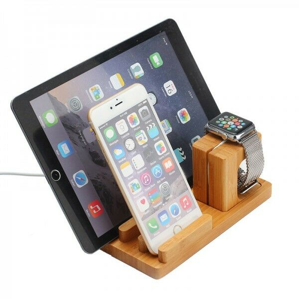 docking station ladestation bambus tisch st nder f r ipad iwatch iphone 5 6 6s ebay. Black Bedroom Furniture Sets. Home Design Ideas