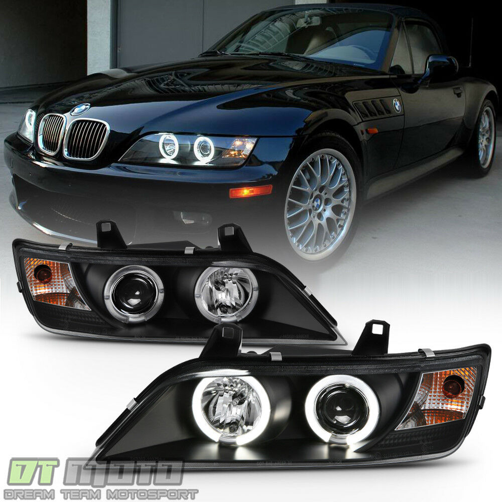 Black 1996 2002 Bmw Z3 Led Halo Projector Headlights Head