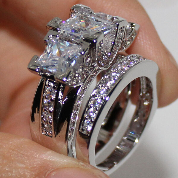 Sz 6 10 exclusive women39s silver three stone white topaz for Three stone wedding ring set