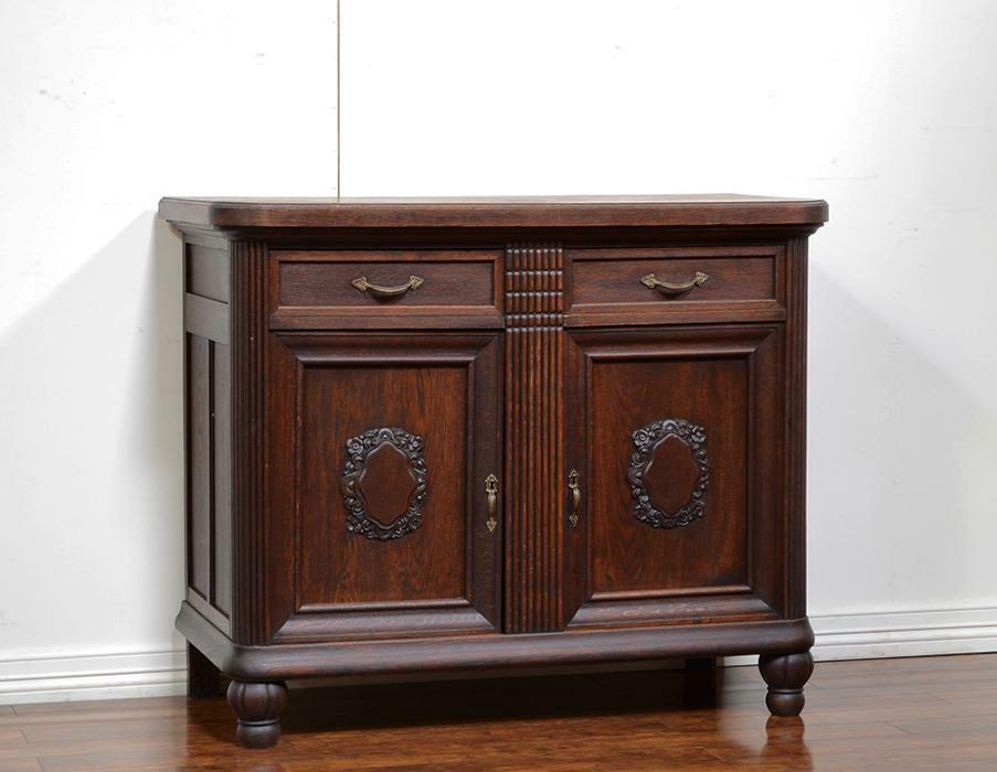 55249 : Dark Oak German Antique Server Sideboard Cabinet