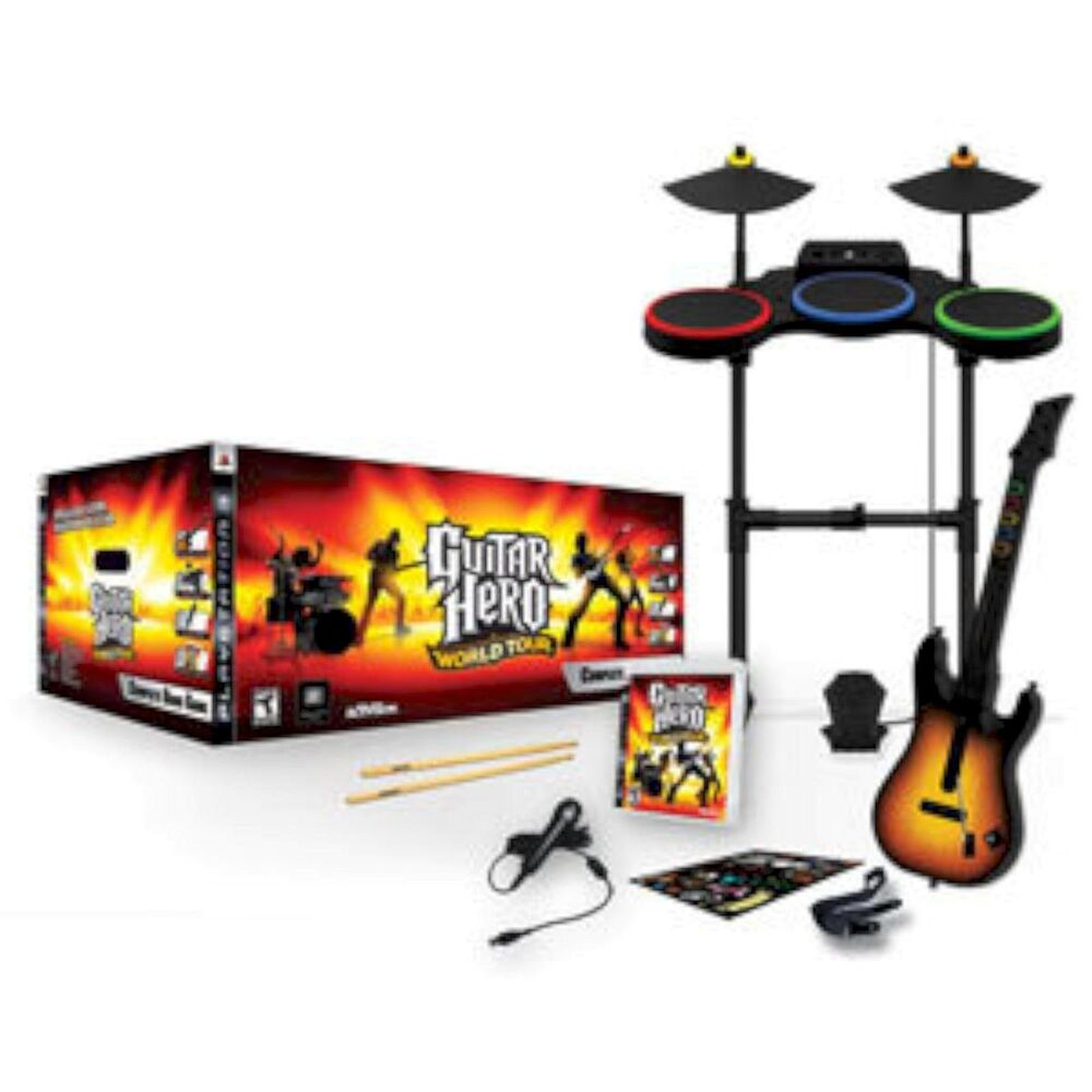 ps3 guitar hero world tour band kit set free shipping drums mic game playstation 47875954816 ebay. Black Bedroom Furniture Sets. Home Design Ideas