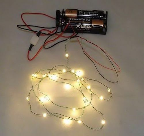 Dollhouse Miniatures Battery Lights: 26 Working Warm White LED Christmas Lights Battery