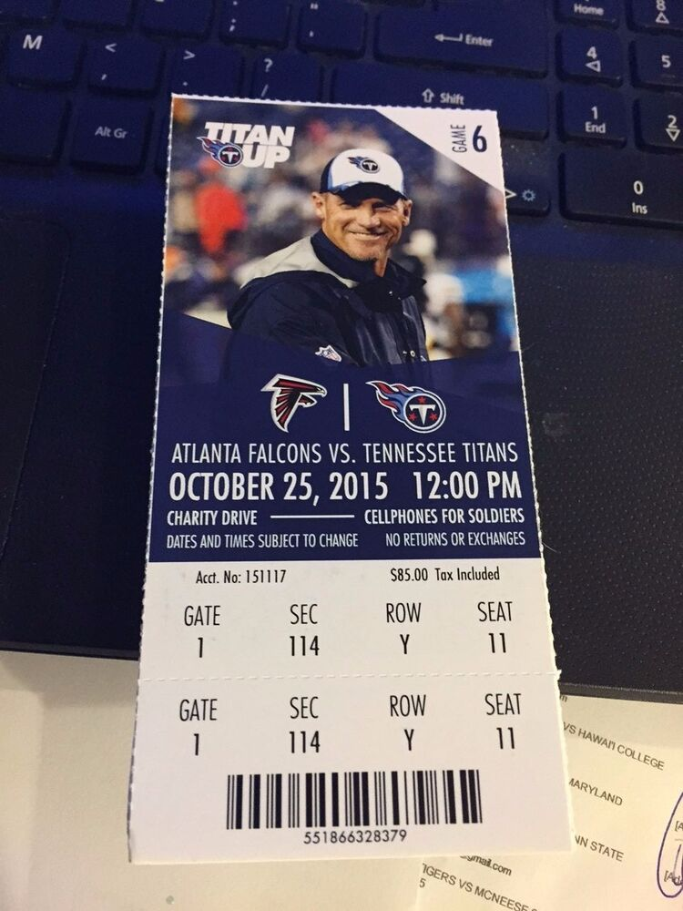 2015 Tennessee Titans Vs Atlanta Falcons Nfl Ticket Stub