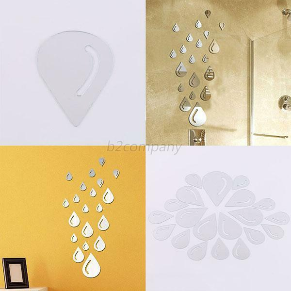 Silver raindrop mirror acrylic wall stickers bathroom 3d for 3d bathroom decor