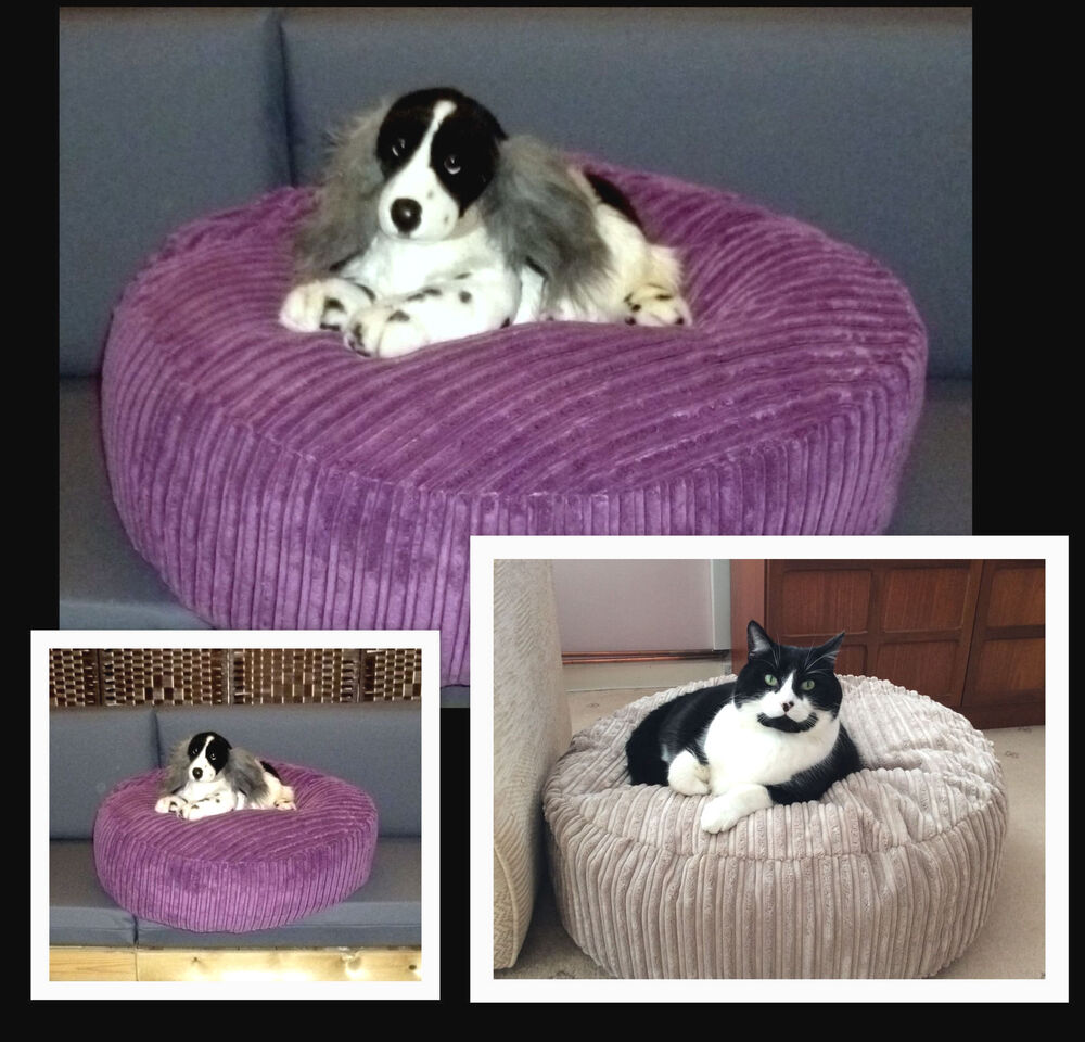 round beanbag dog bed chunky polyester cord fabric pet cat bean bag loose cover ebay. Black Bedroom Furniture Sets. Home Design Ideas