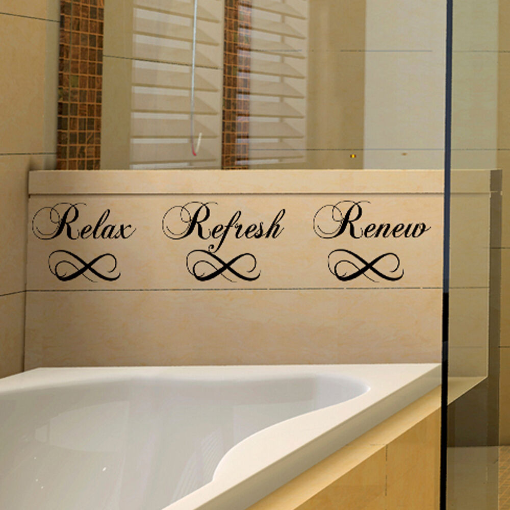 Bathroom inspired wall decal soak relax refresh renew word for Renew bathroom
