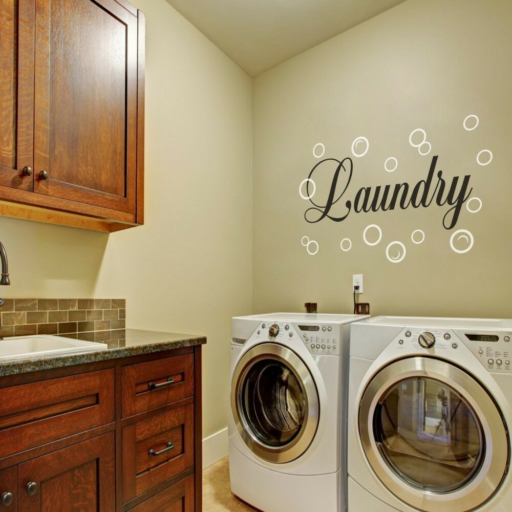 Laundry room wall decal family bubble quote washroom vinyl for Laundry room wall art