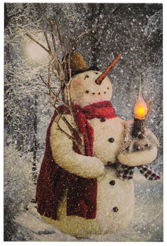 New Country Christmas Woodland Snowman Lighted Candle