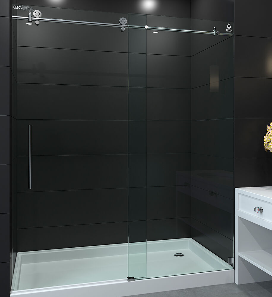 Sola 56 Quot 60 Quot X 80 Quot Frameless Sliding Shower Door 1 2