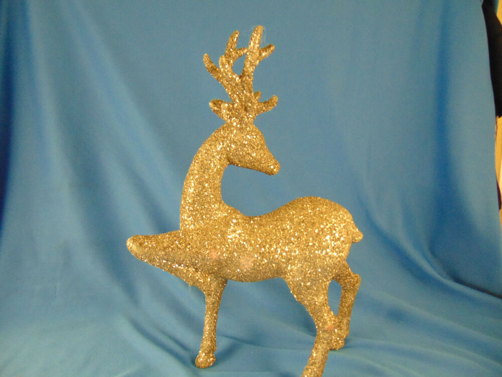 Vintage Glitter Reindeer Decor Animal Christmas Holiday