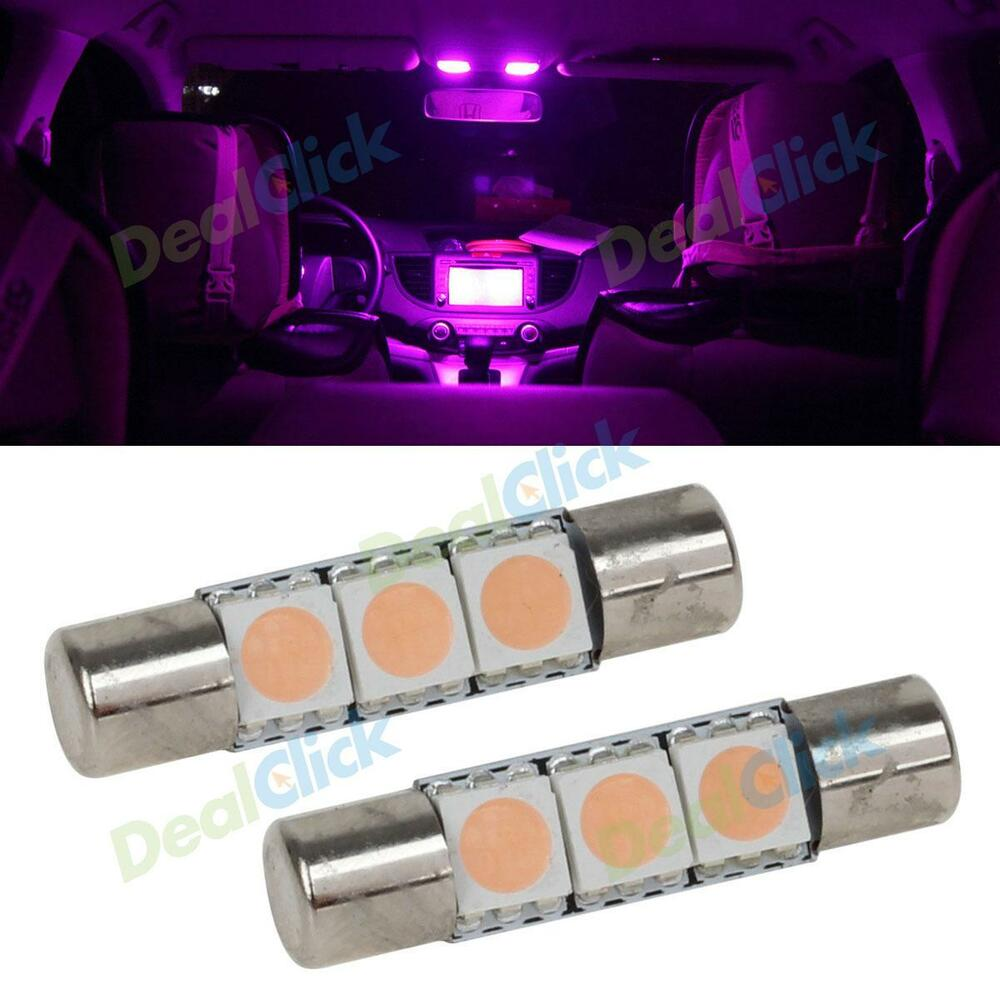 2pcs pink purple 3smd led bulb for car vanity mirror lights sun visor lamp ebay. Black Bedroom Furniture Sets. Home Design Ideas