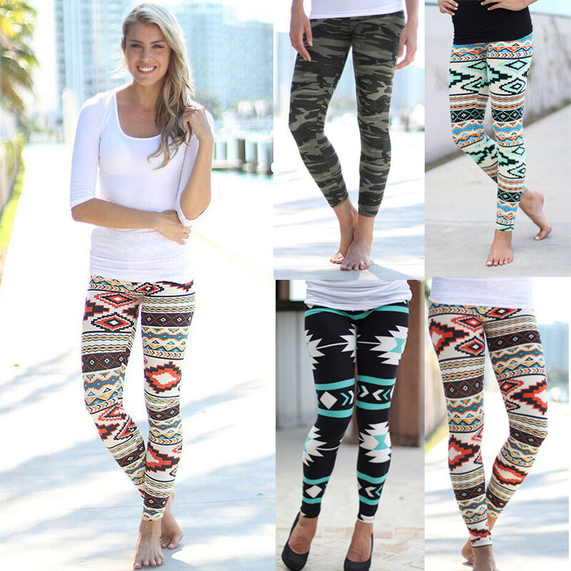 Women Stretchy Print Leggings Casual Skinny Leggings Slim ...