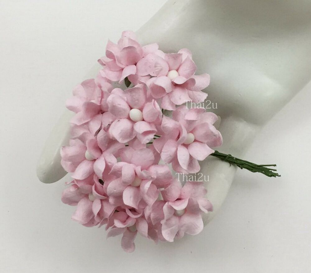 25 small pale pink mulberry paper flowers scrapbook for Small flowers for crafts
