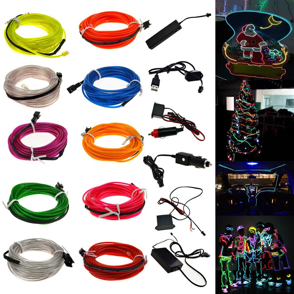 neon led light glow el wire string strip rope tube controller for christmas ebay. Black Bedroom Furniture Sets. Home Design Ideas
