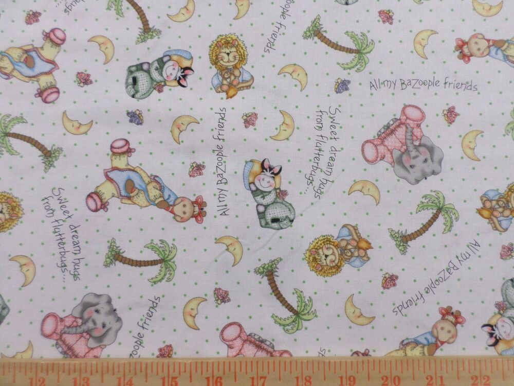Bazoople Sweet Dream Animal Toss Fabric Bty By Yard 36x44
